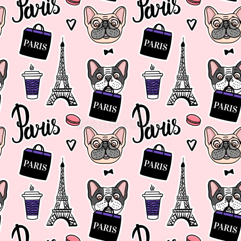 Robić zakupy w Paris różowym bezszwowym wzorze Francuski buldog trzyma torbę na zakupy r?ka patroszony wektor ilustracja wektor