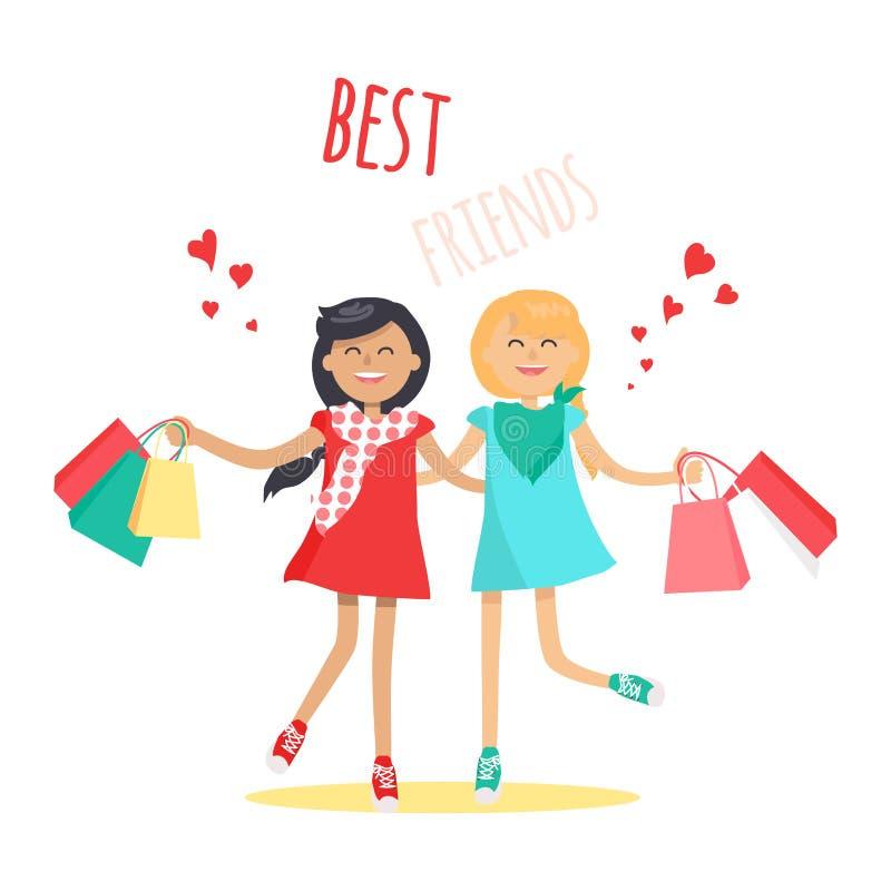 Robić zakupy z najlepszego przyjaciela Płaskim Wektorowym pojęciem ilustracja wektor
