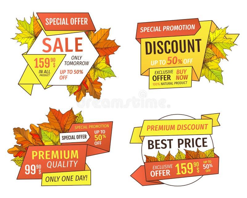 Robić zakupy znaki z informacją O sprzedażach, metki ilustracji