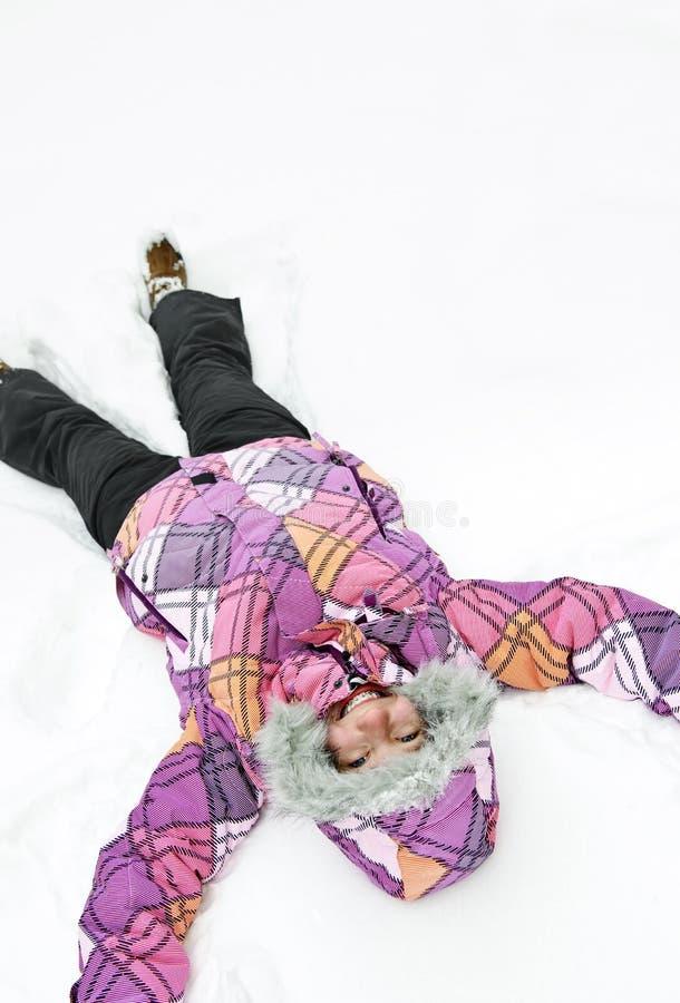 robi śniegowi anioł dziewczyna obrazy royalty free