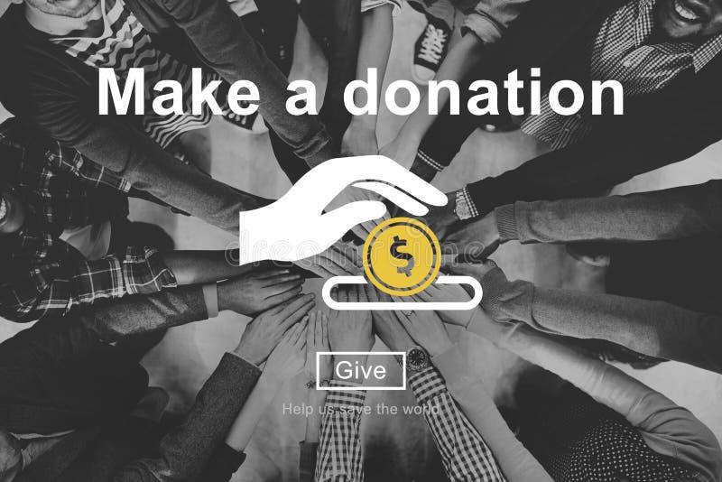 Robi darowizny dobroczynności Darować Przyczynia się Daje pojęciu zdjęcia stock