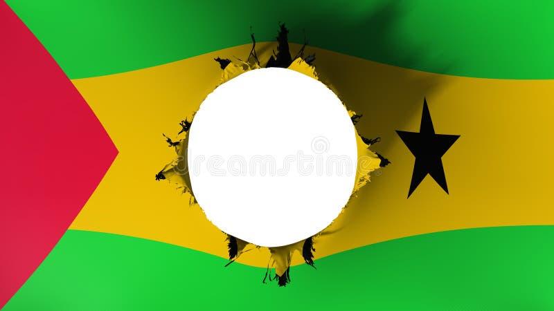 Robi dziurę cięcie w fladze Sao Principe i wolumin ilustracja wektor