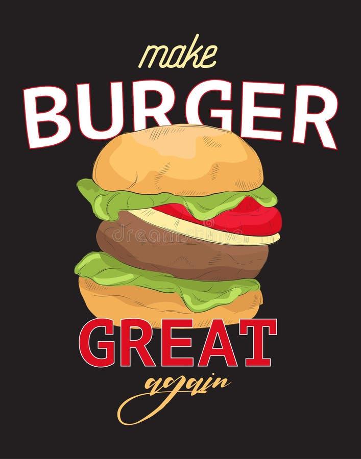 Robi hamburgerowi wielkiej śmiesznej wycenie znowu Typografia slogan z ręka rysującą kanapką Śmieszny trójnika druk, majcher, kre ilustracji