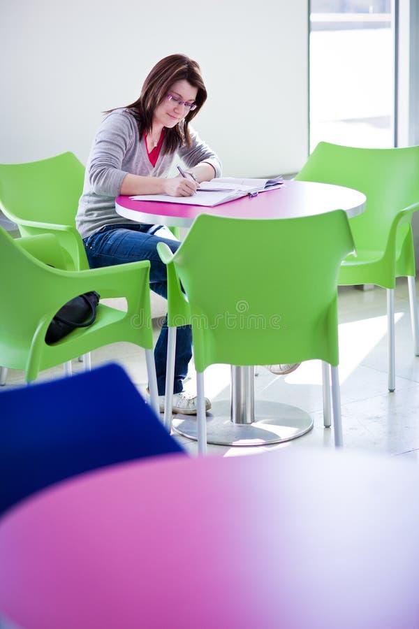 robi homeworkon żeńskiego ucznia kampus szkoła wyższa zdjęcie stock
