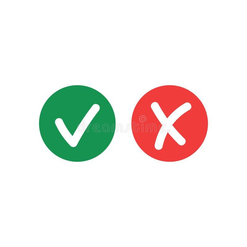 Robi kleszczowej ocenie, no sprawdza i no krzyżuje ikon odizolowywać na białym tle Wektorowi listy kontrolnej lub wyboru opcji sy royalty ilustracja