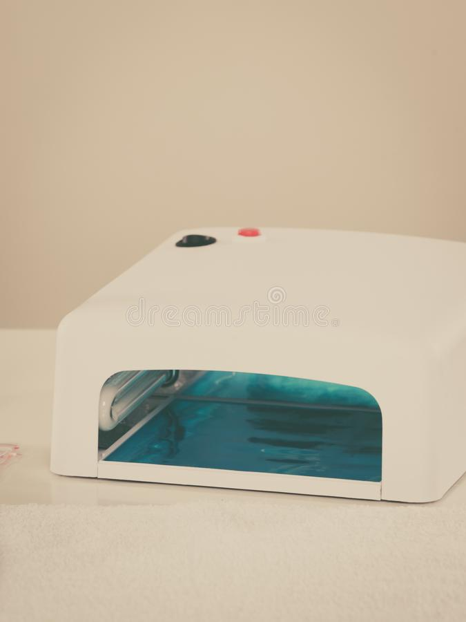 Robi manikiur set, fachowy hybryd prowadzący gel gwoździe lampowi fotografia stock