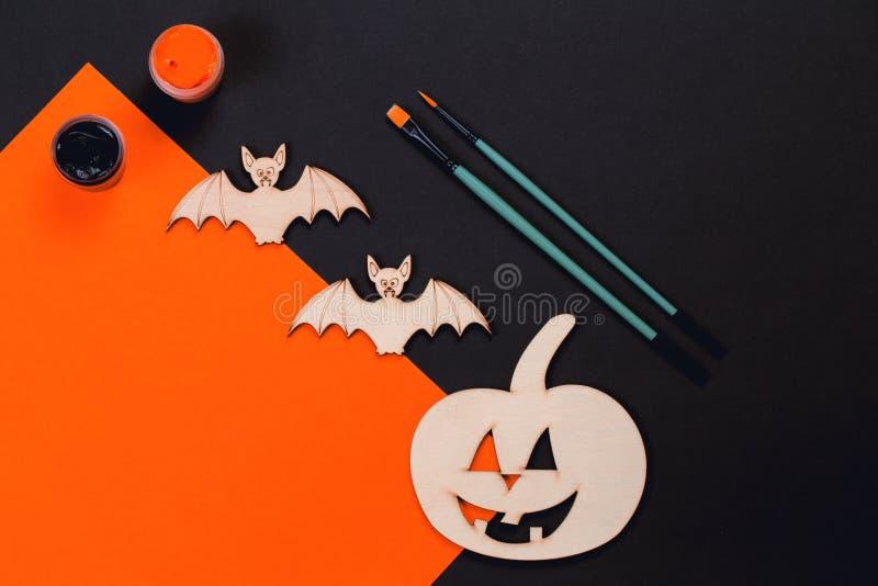 Robi mię Halloweenowi bani i wampira nietoperze zdjęcie royalty free