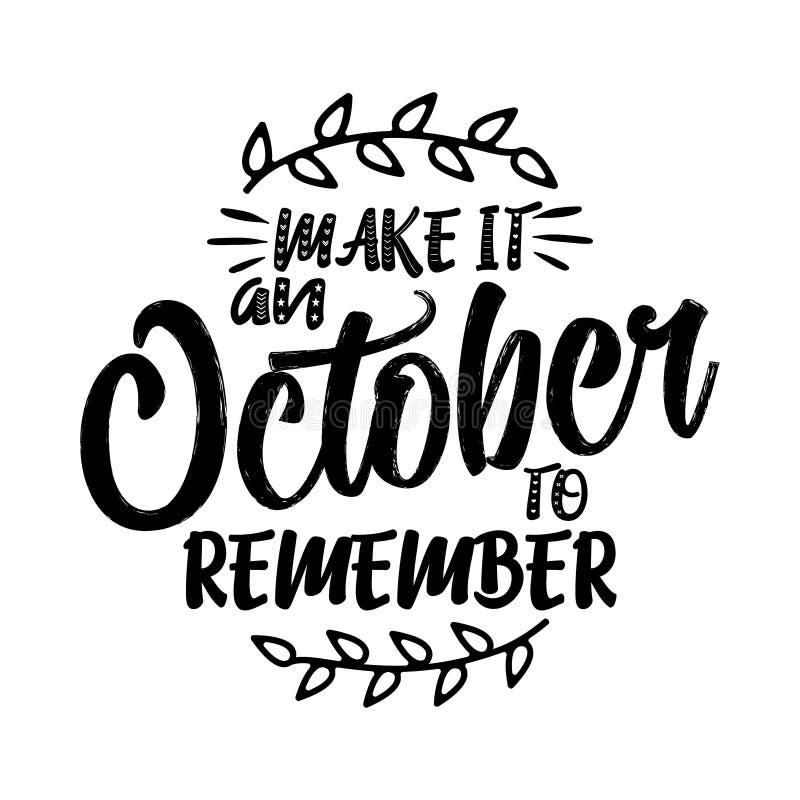 Robi mię Październikowi pamiętać - literowanie tekst royalty ilustracja
