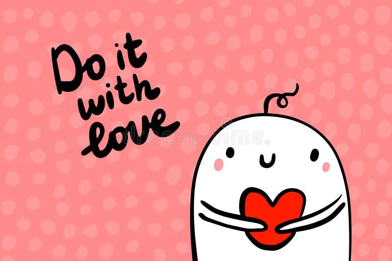 Robi mię z miłości ręka rysującą wektorową ilustracją w kreskówka stylu Valentines dnia pocztówka serca odosobniony symbolu biel ilustracji