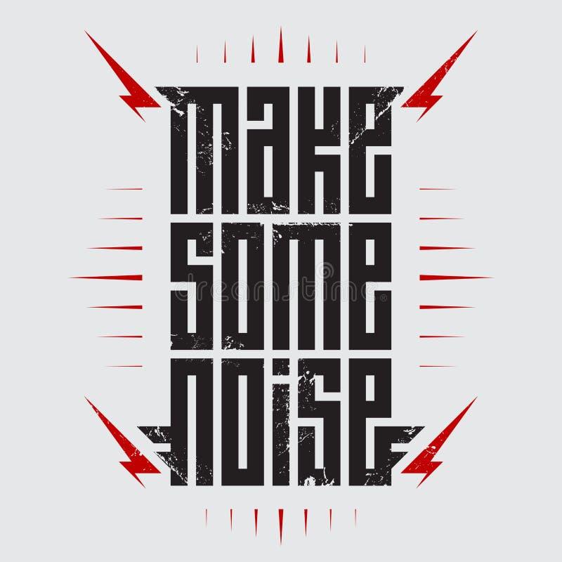 Robi Niektóre hałasowi - muzyczny plakat z stylizowanymi wpisowymi i czerwonymi błyskawicami Rockowy koszulka projekt r ilustracji