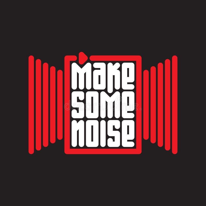 Robi niektóre hałasowi - muzyczny plakat z czerwonym guzikiem ilustracja wektor