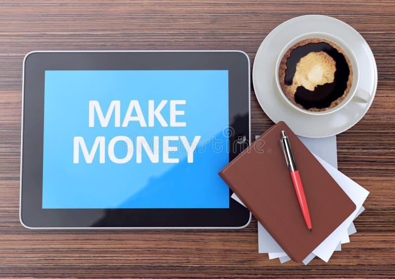 Robi pieniądze online na pastylka komputeru osobistego komputerze z filiżanką kawy, notatnikiem i piórem na drewnianym tle, ilustracji
