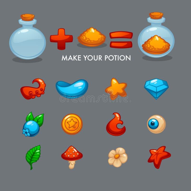 Robi Twój napojowi miłosnemu, Wektorowy Mobilny Gemowy alchemia konstruktor royalty ilustracja