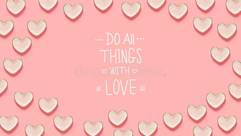 Robi Wszystkie rzeczom z miłości wiadomością z wiele kierowymi naczyniami ilustracji