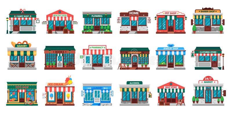 Robi zakupy fasady Pralniany budynek, narzędzia sklepu fasada i apteka wektoru sklepowy płaski set, ilustracji