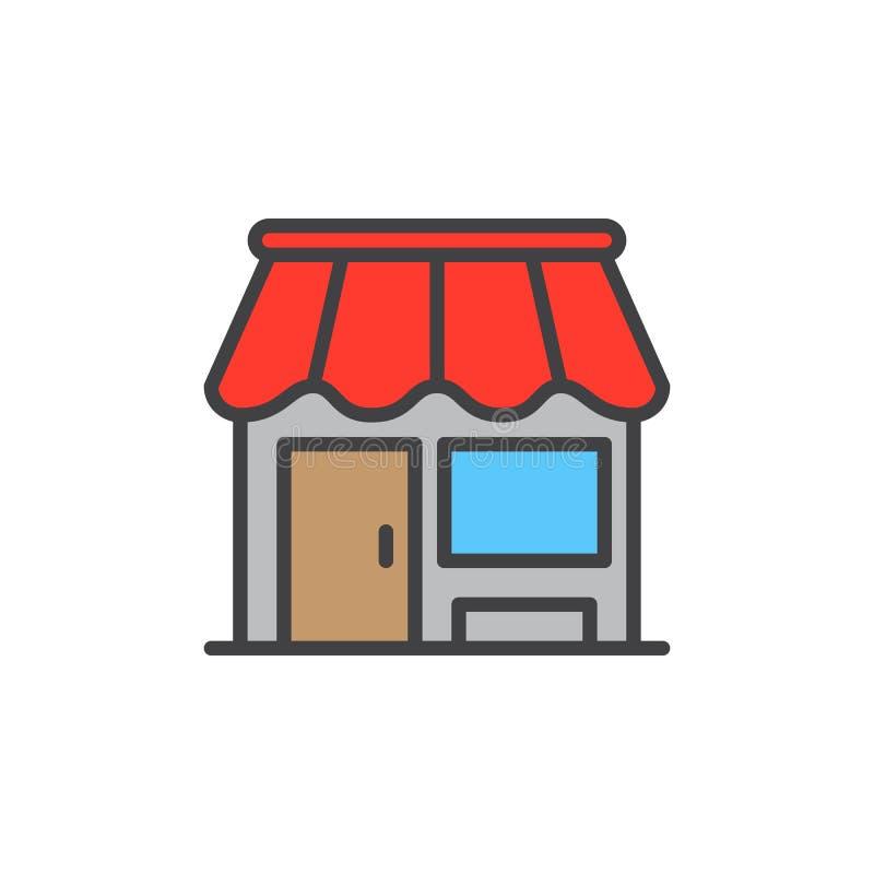 Robi zakupy, sklep wypełniająca kontur ikona, wektoru znak ilustracja wektor