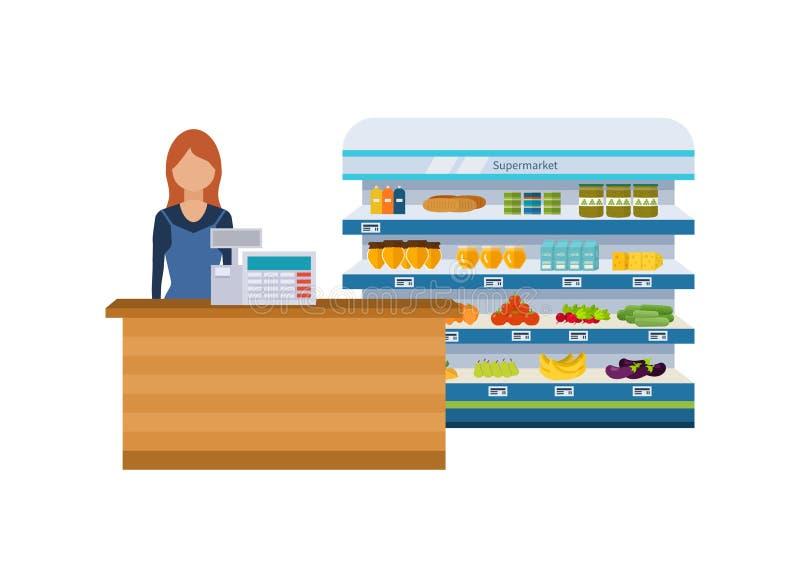 Robi zakupy, supermarket wewnętrzna półka z owoc, warzywa, mleko, miód, napoje, prezerwy Zdrowy łasowania i eco jedzenie ilustracja wektor