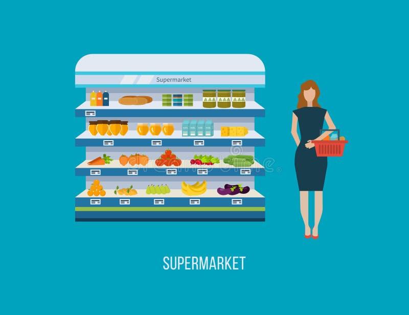 Robi zakupy, supermarket wewnętrzna półka z owoc, warzywa, mleko, miód, napoje, prezerwy Zdrowy łasowania i eco jedzenie ilustracji