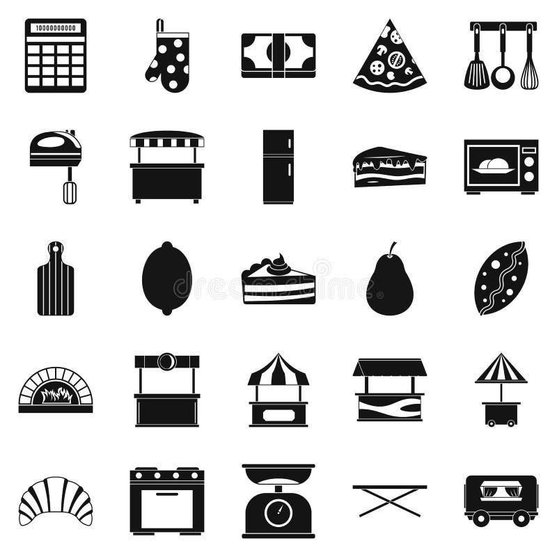 Robi zakupy z babeczek ikonami ustawiać, prosty styl ilustracja wektor