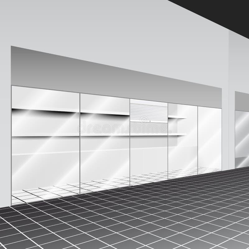 Robi zakupy z stojakiem i półkami w korytarzu royalty ilustracja