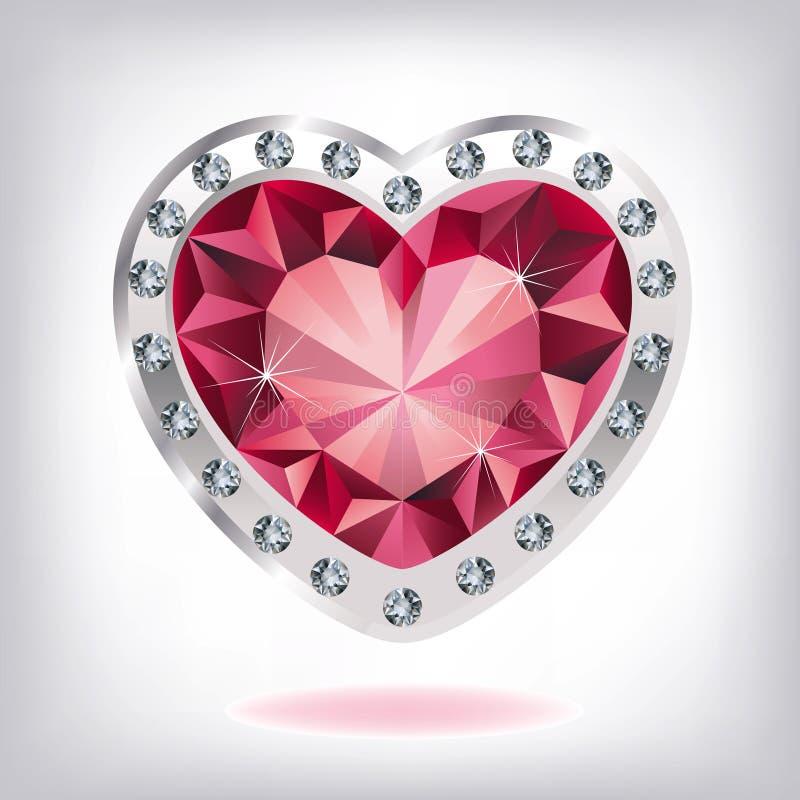 Robijnrood hart in diamanten stock illustratie