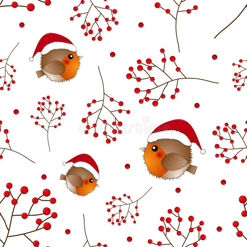 Robin Bird Santa Claus et baie rouges sur le fond blanc Illustration de vecteur illustration stock
