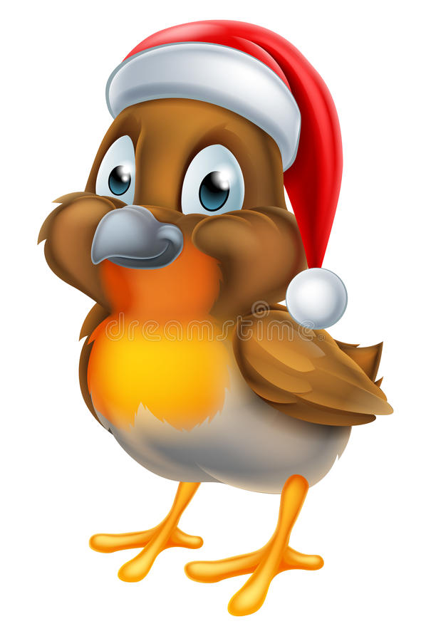 Robin Christmas Bird Cartoon illustration stock