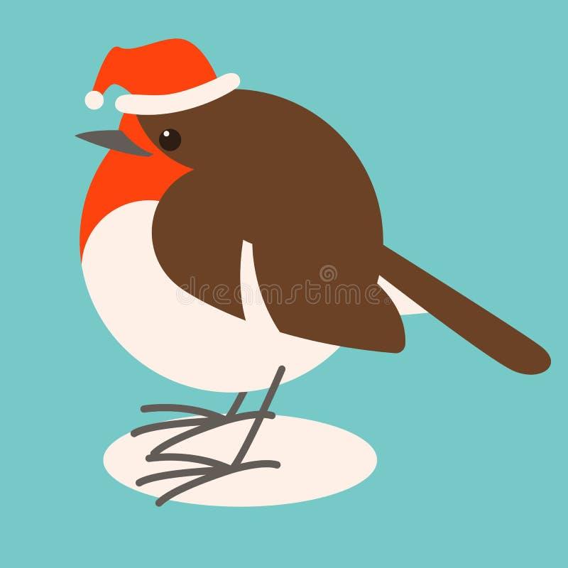 Robin dans le chapeau de Santa, illustration de vecteur, style plat, profil illustration libre de droits