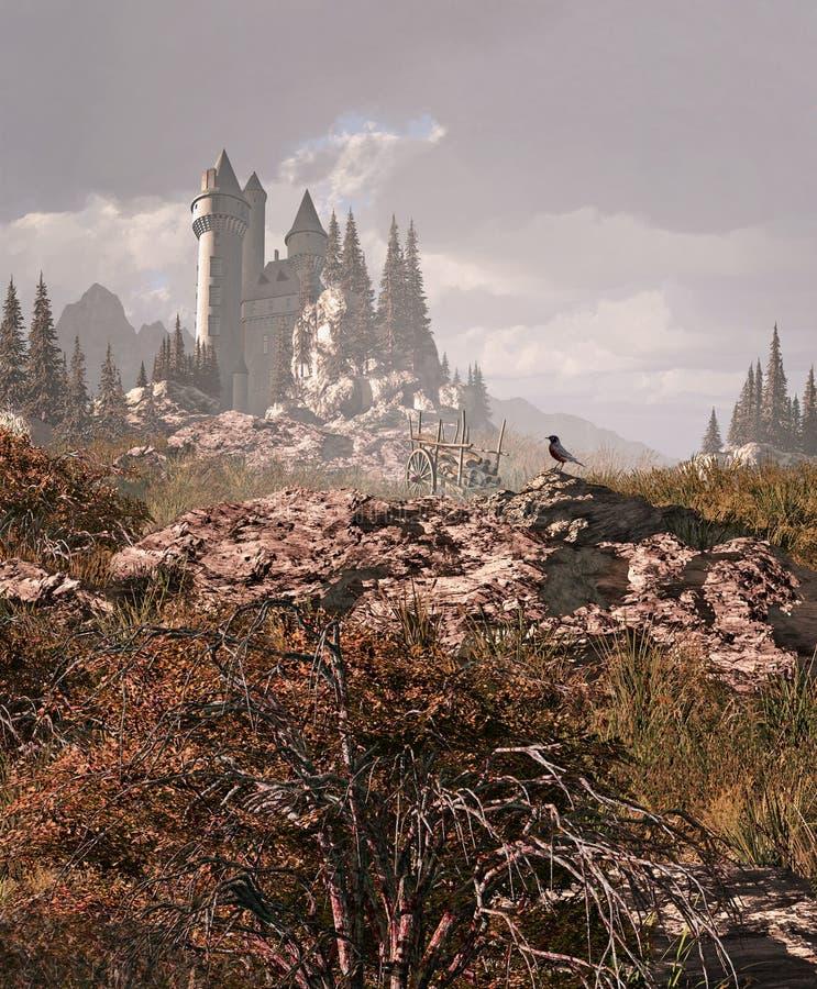 Robin et château médiéval dans les montagnes illustration de vecteur