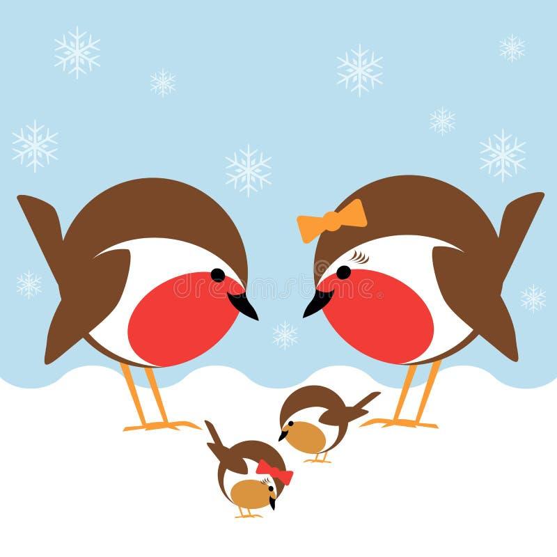 Robin family vector illustration