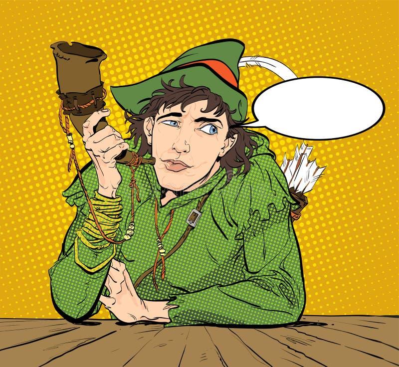 Robin Hood em um chapéu com pena e um chifre Duvidando Robin Hood Defender de fraco Legendas medievais Heróis de medieval ilustração royalty free