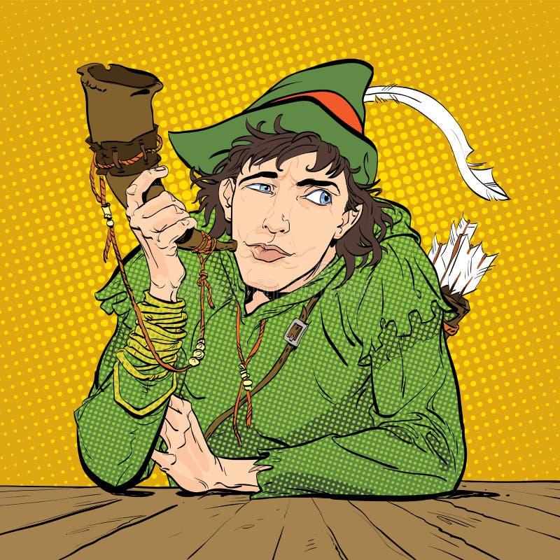 Robin Hood em um chapéu com pena e um chifre Duvidando Robin Hood Defender de fraco Legendas medievais Heróis de medieval ilustração do vetor