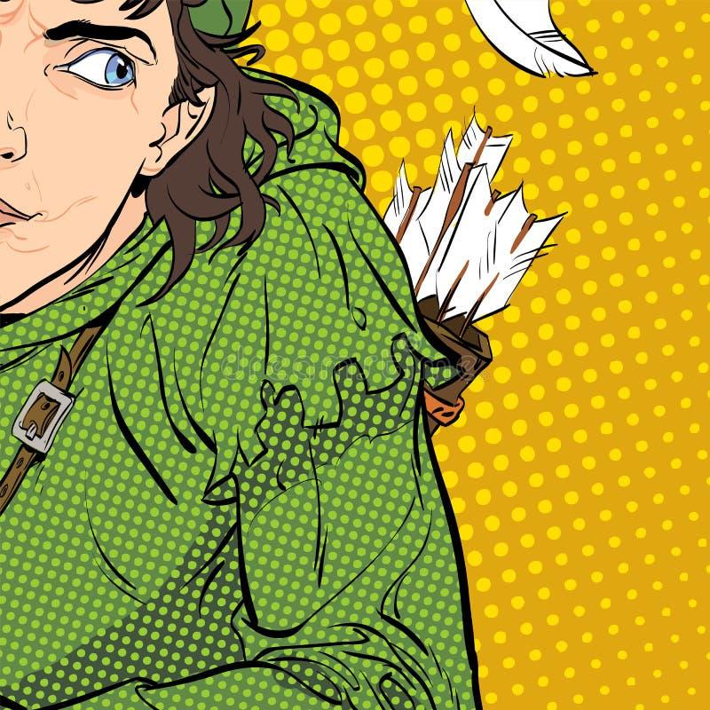 Robin Hood em um chapéu com pena e um chifre Duvidando Robin Hood Defender de fraco Legendas medievais Heróis de medieval ilustração stock