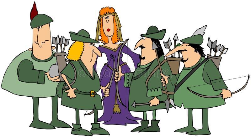 Robin Hood et ses joyeux hommes illustration de vecteur