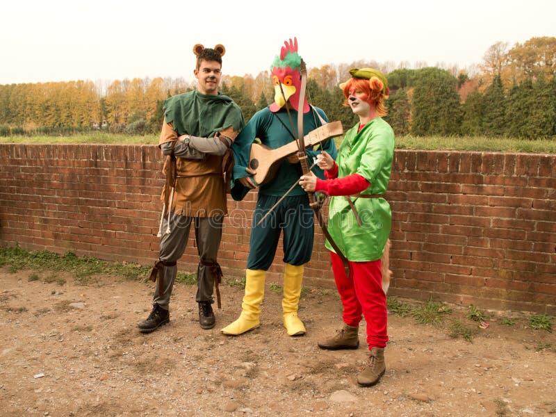 Robin Hood och hans Merrie Men på Lucca komiker och lekar 2017 arkivfoto