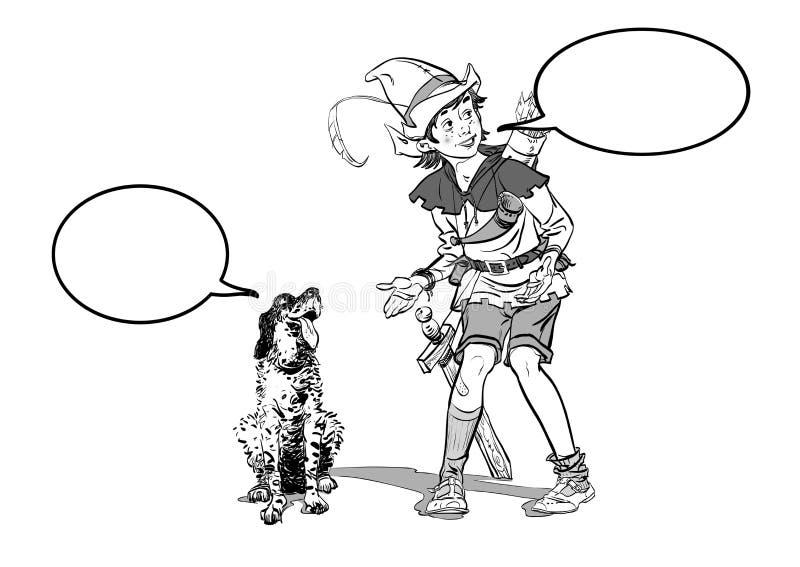 Robin Hood pequeno e um cão Menino e seu cão Infância de Robin Hood Criança Robin Hood Legendas medievais Heróis de ilustração royalty free