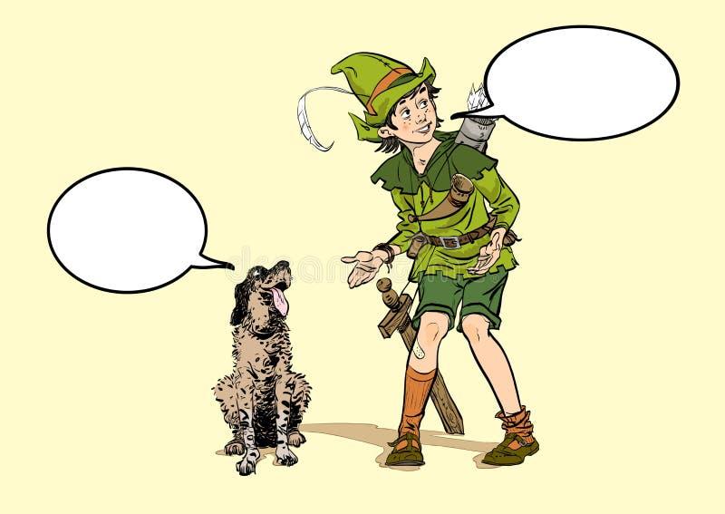 Robin Hood pequeno e um cão Menino e seu cão Infância de Robin Hood Criança Robin Hood Legendas medievais Heróis de ilustração do vetor