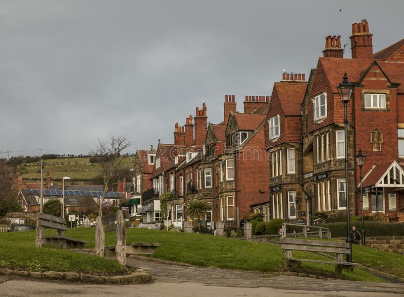 Robin Hood`s Bay - the village and red brick houses. royalty free stock photo