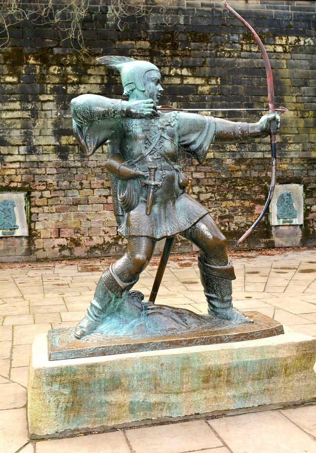 Robin Hood-standbeeld in Nottingham, het UK royalty-vrije stock foto