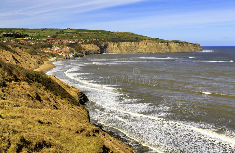 Robin Hoods Bay from Boggle Hole. And Cleveland Way, North Yorkshire Coastline, England stock photos