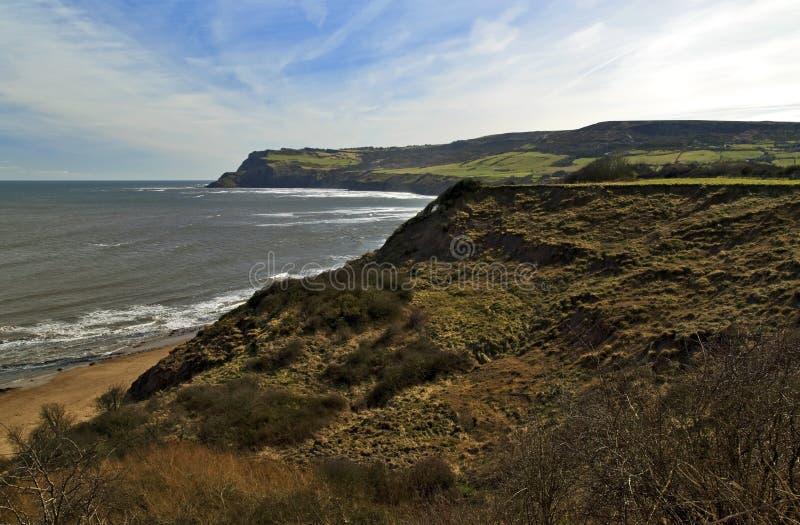 Robin Hoods Bay from Boggle Hole towards Ravenscar. North Yorkshire Coast royalty free stock images