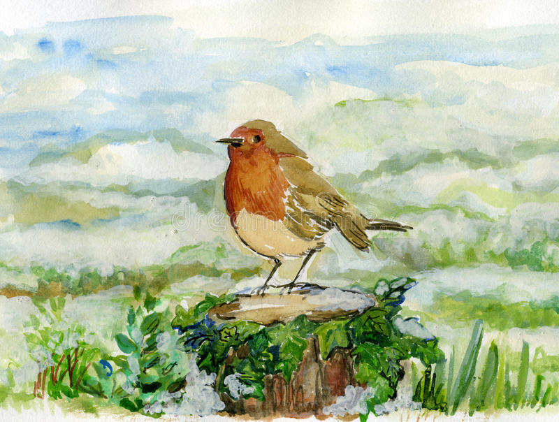 Robin on an Ivy Covered Log in Snowy Scene. stock illustration