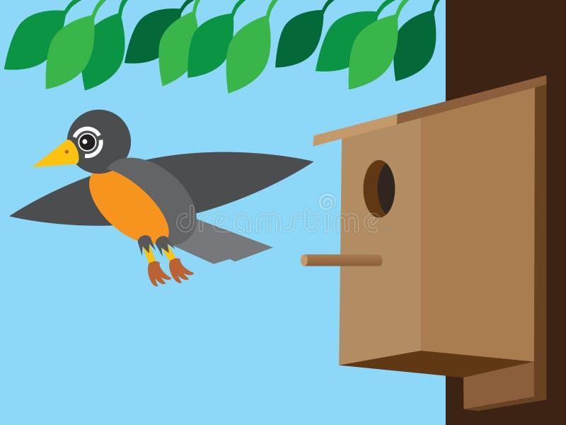 Robin Leaving Birdhouse stock illustrationer