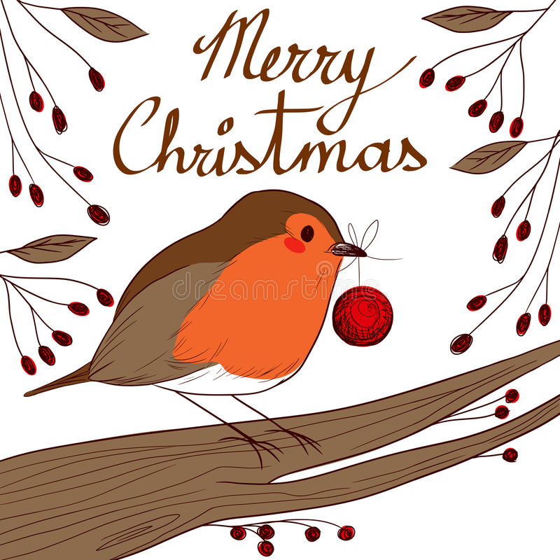 Robin With Red Bauble vector illustratie