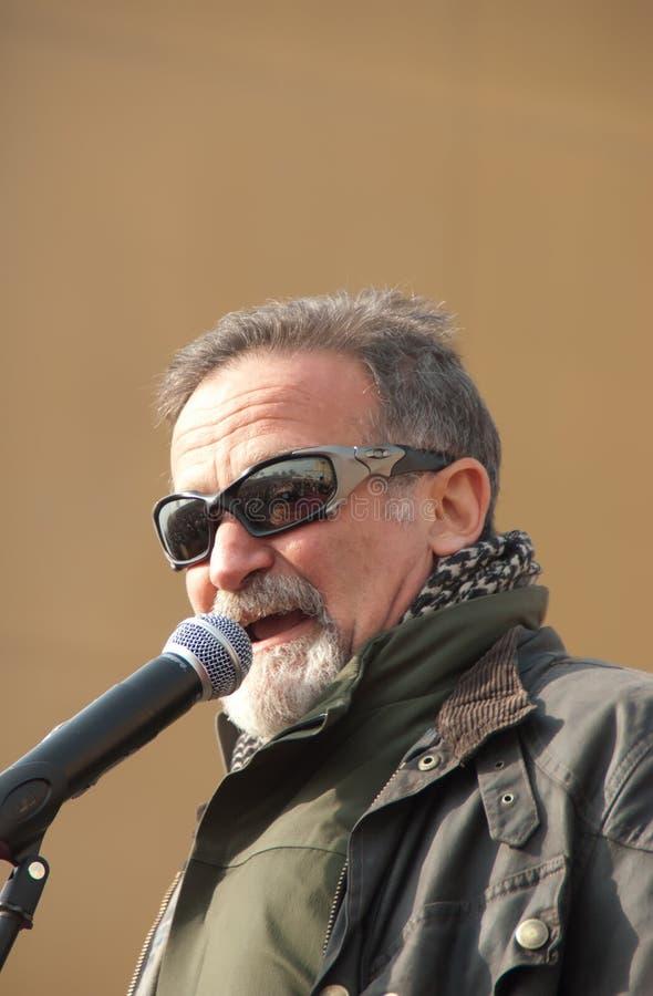 Robin Williams mit den Truppen stockbilder