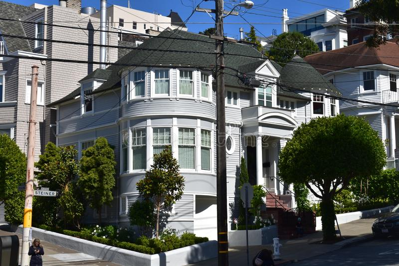The Robin Williams and Sally Fields Mrs. Doubtfire House, 2. It did not take the 1993 blockbuster Mrs. Doubtfire film to turn this 1893 Victorian house into a royalty free stock image