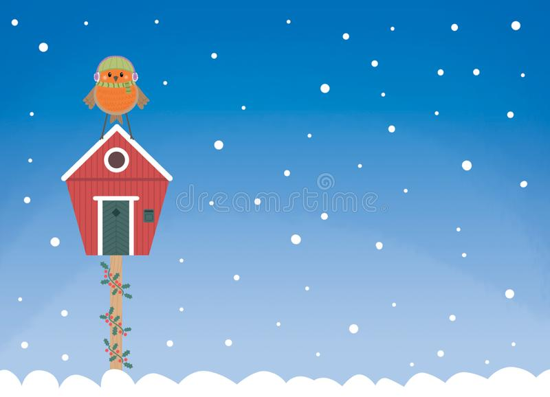 Robin winter house postcard. Cute little robin standing on a birdhouse in a snowy day digital illustrated card