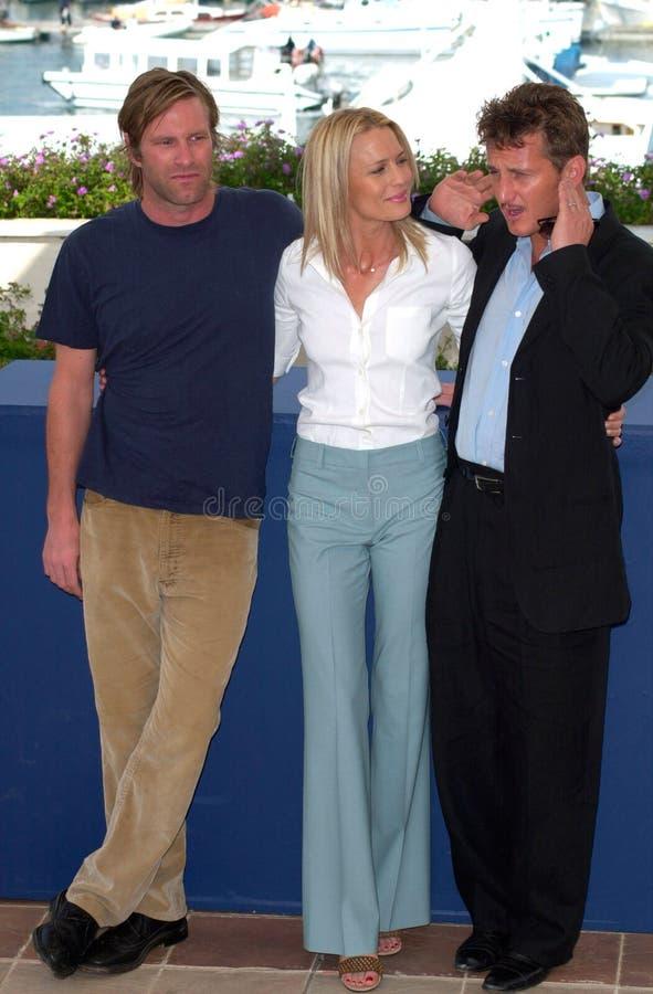Robin Wright Penn, Sean Penn, Aaron Eckhart royalty-vrije stock foto
