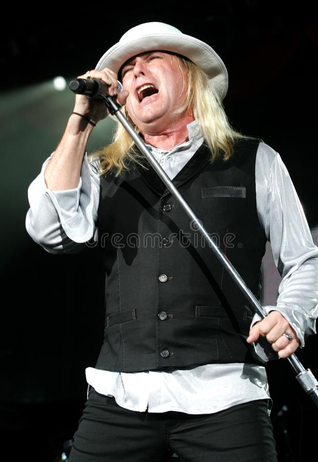 Robin Zander with Cheap Trick. Performs in concert at the Cruzan Amphitheatre in West Palm Beach, Florida on August 13, 2009 royalty free stock photo