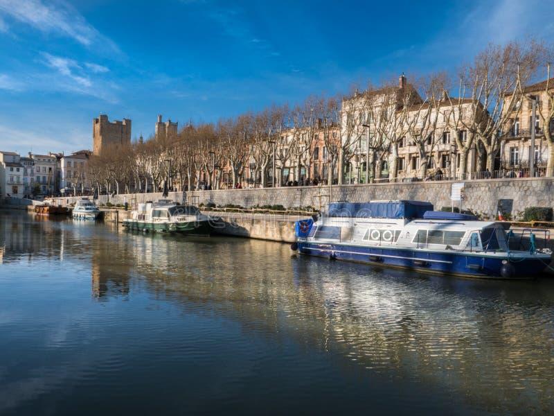 Robine kanał w centrum Narbonne obraz royalty free
